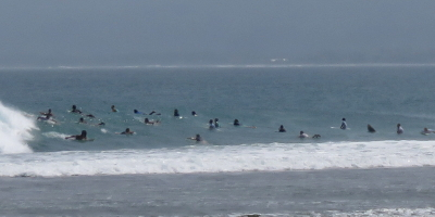 Crowded surf at Krui Left South Sumatra