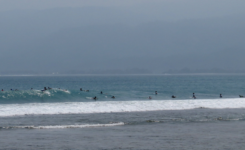 Crowd at Krui Left surf break Sumatra
